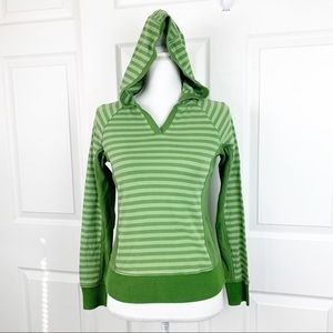 Lole Green Striped Top Pullover Hoodie